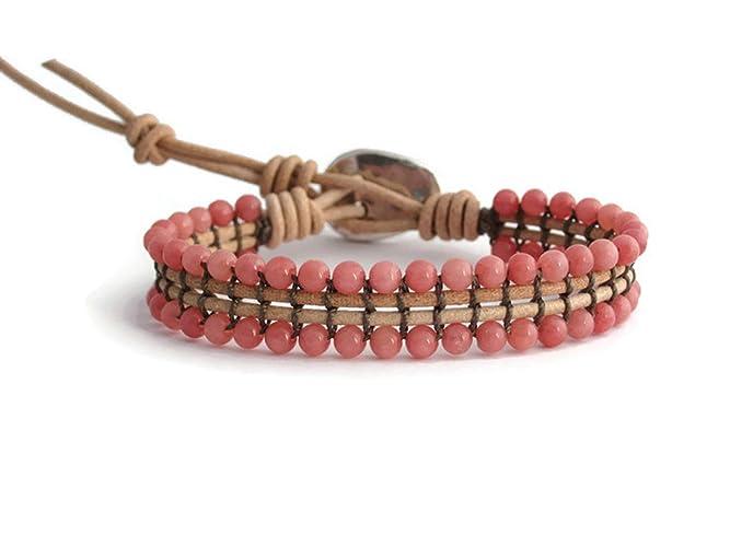 9197bad0d36f Pulsera de Mujer con Piedras Jade Color Coral Claro Hecha a Mano ...