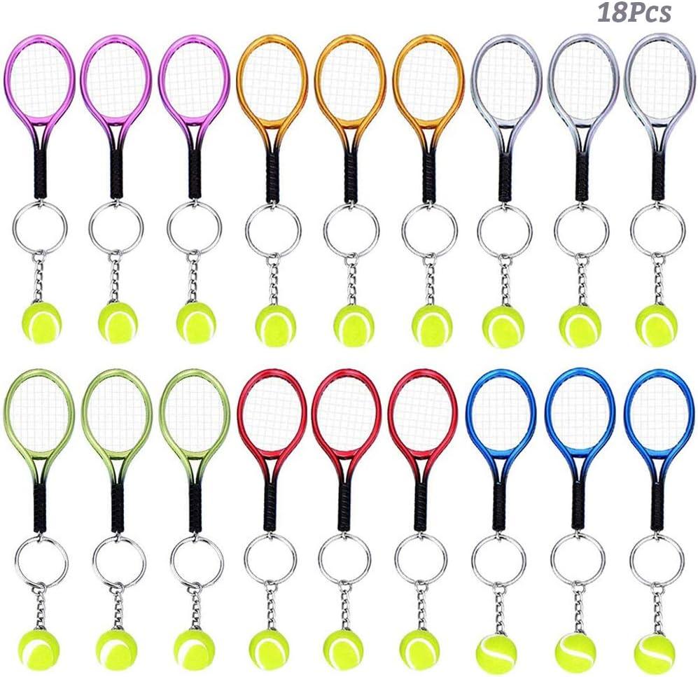 AUHOTA 18Pcs Mini Tenis Raqueta Llavero Llave Anillo, Novedad Tenis Colgante, Llavero Cadena Estilo Deportivo Split Amantes del Deporte Set de Premios Regalo Decoración (6 Colores)