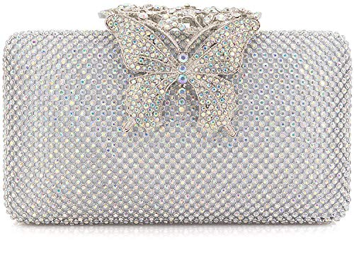 - Dexmay Rhinestone Crystal Clutch Purse Butterfly Clasp Women Evening Bag for Formal Party AB Silver
