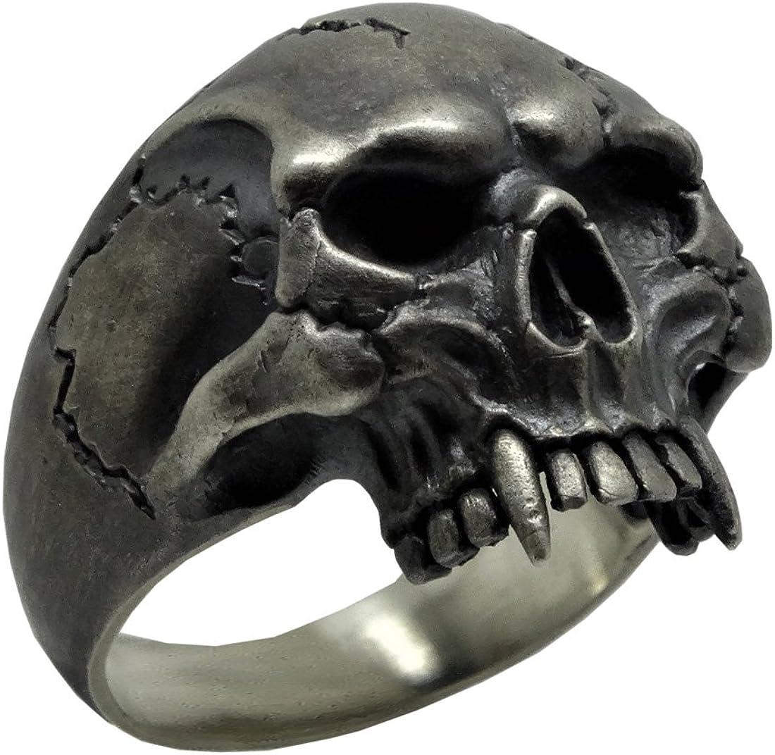 UNIQABLE 925 Solid Silver Vampire Skull Ring Biker Harley Masonic Man Size SK09