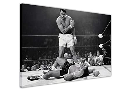 Black and white canvas prints wall art pictures legends iconic muhammad ali knockout ko print room