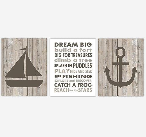 Amazon Com Nautical Baby Boy Nursery Wall Art Sailboat Anchor