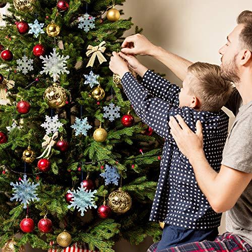 FUTUREPLUSX Christmas Acrylic Snowflake Ornaments, 12PCS 4 Styles Acrylic Crystal Snowflakes Plastic Snowflakes Xmas Tree Pendant for Christmas Winter Decorations