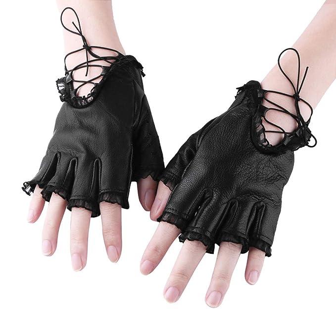 fbe1d8774d3641 Agoky Winter Leder Handschuhe Fingerlose Fäustlinge Damen Fingerhandschuhe  Fingerlos Halb Handschuhe mit Schnürung und Spitze Punk