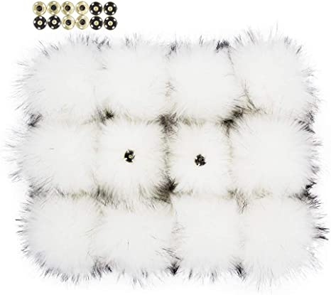 Light Gray 12pcs Handmade Hairy Ball with Mini Loop,Fits for Knitted Hats Scarves Garment Accessories 6 Inches Fluffy Faux Raccoon Fur Pompoms