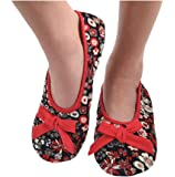 Snoozies Womens Corduroy Floral Ballet Non-Skid Slipper Socks