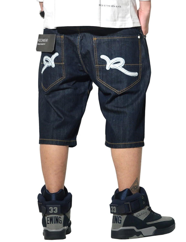 (ロカウェア) ROCAWEAR ハーフデニムパンツ メンズ 大きいサイズ ジーンズ Rロゴ R1601J205S 3カラー B01N3AZCD4  ロウインディゴ 36