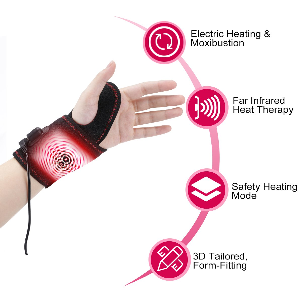 Heated Wrist Brace Heating Wrist Wrap by TechLove with Moxa Bag for Men and Women Suffer Wrist Injury, Pain, Carpal Tunnel, Arthritis and Tendonitis (Black)