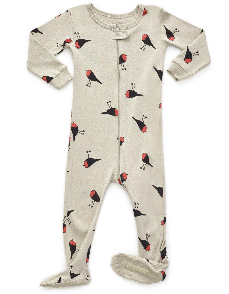 Leveret Kids Birds Baby Girls Footed Pajamas