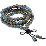 JDZ Amulets Tibetan Buddhist 108 Beaded Bracelet Porcelain Prayer Beads Wrist Meditation Mala Bracelet