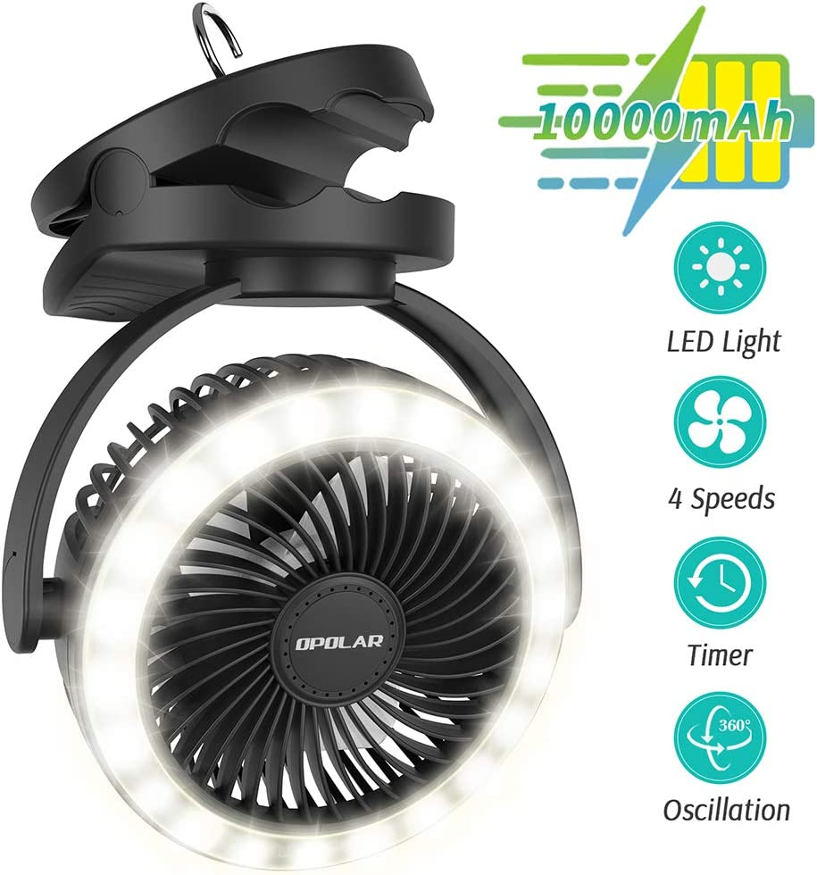 OPOLAR 2020 New Upgrade 10000mAh Camping fans with lights Rechargeable,Clip on Fan with 22 Lamp Beads,40H Working time,2-6H Three Levels Time setting,4 Speeds Adjustment,Hanging Hook Desk Fan