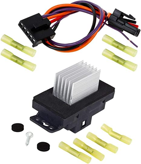 partssquare hvac blower motor resistor with harness ru359 replacement for chevy silverado tahoe suburban impala,gmc sierra yukon compatible with buick leaf blower wiring diagram tahoe blower switch wiring diagram #5