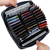 Buvelife Credit Card Wallet Leather RFID Wallet with Zipper for Women or Men, Huge Storage Capacity Credit Card Holder (Navy Blue)