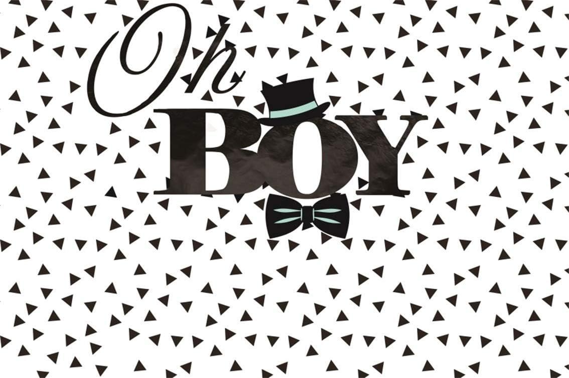 CSFOTO 8x6ft fondo para Oh Boy Baby Shower Negro Sombrero y ...