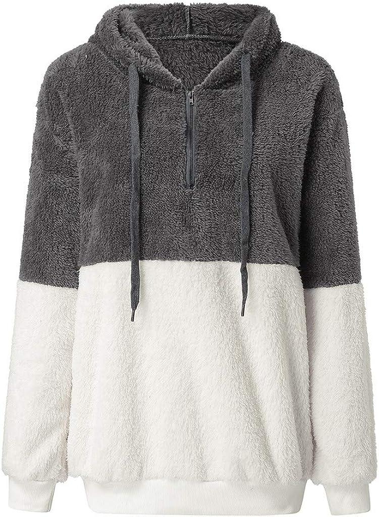 Amiley Women Color Block Patchwork Fluffy Pullover Zipper Hooded Outwear Jacket Coat Hoodies Long Sleeve Tee Blouse Women