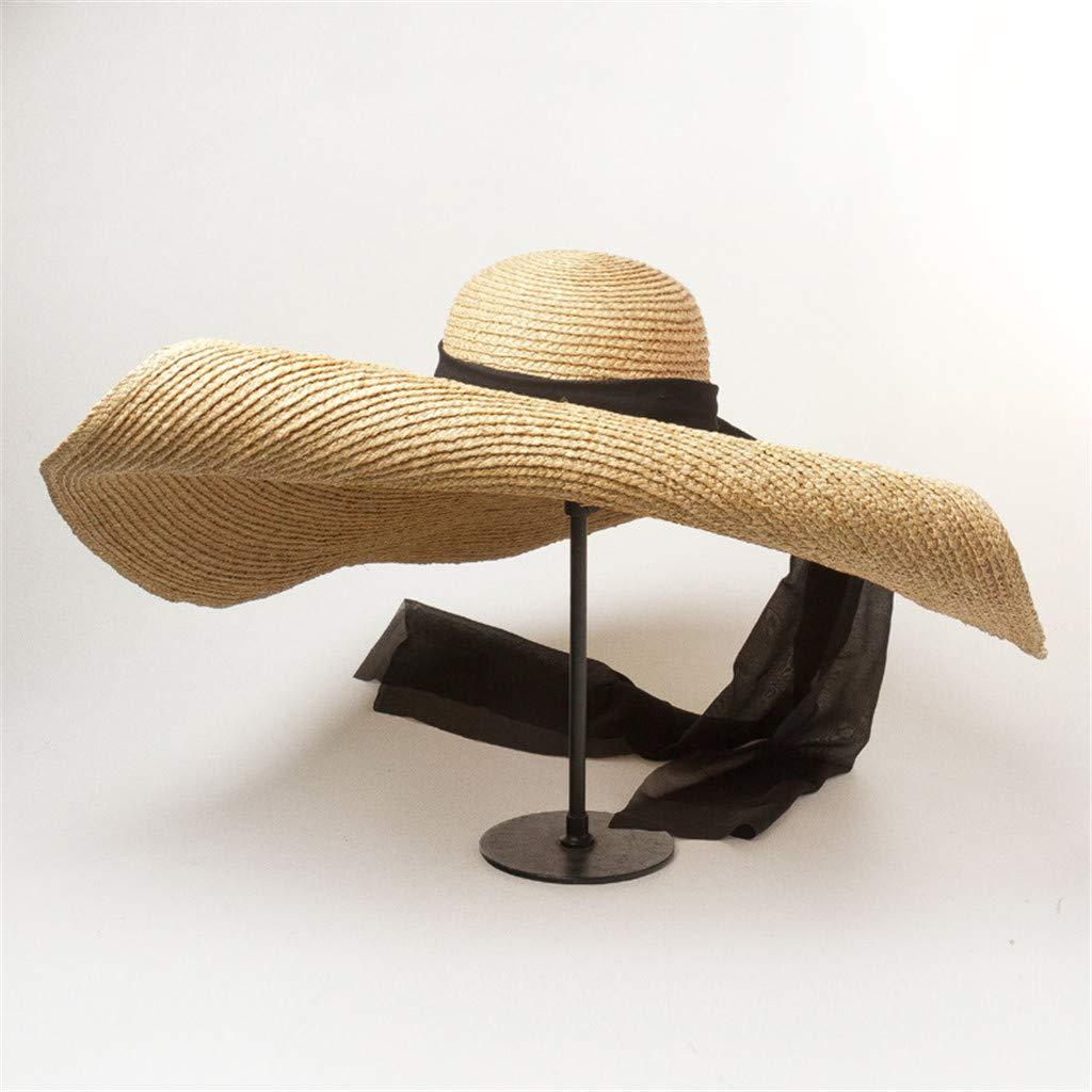 Sun Visor Hats Women Large Brim Summer UV Protection Beach Cap Coffee