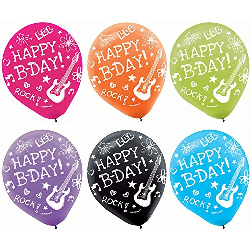 Birthday Printed Latex Balloons (2 Set of 12 Amscan Neon Printed Latex Birthday Party Balloons Decoration bundled by Maven Gifts)