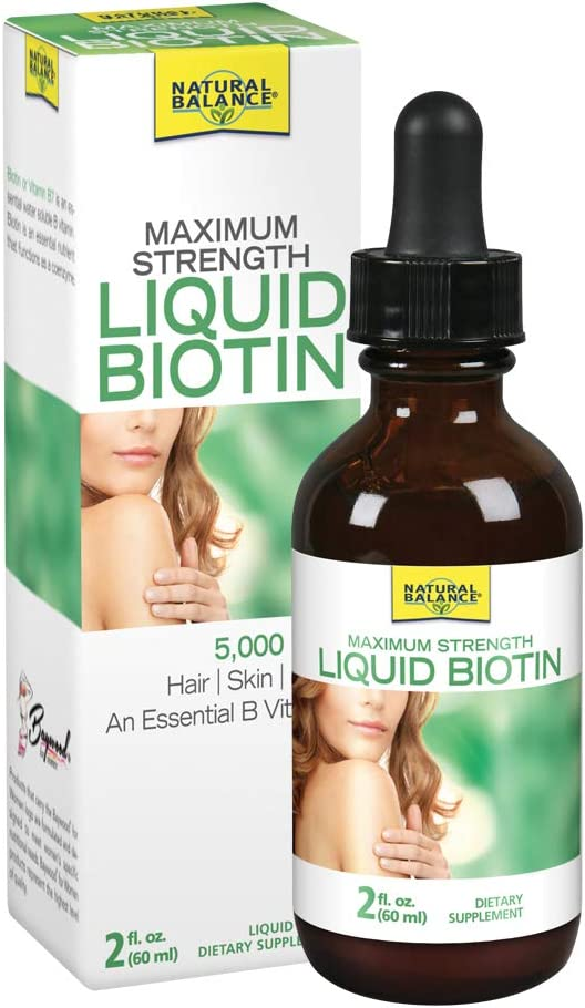 Natural Balance Biotin Liquid 5000mcg | Healthy Hair Supplement | Skin Health & Strong Nails Support | 2 oz, 60 Servings