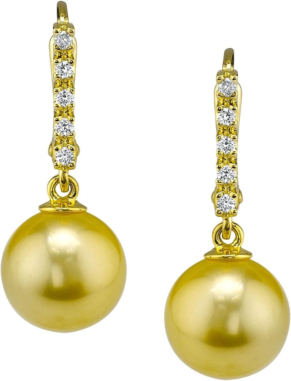 Mar del sur de oro pendientes de perla cultivada de peluche Britney en 18 K oro
