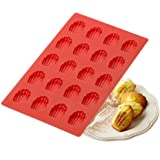 ED-Lumos 20 Cavity DIY Red Shell Madeleine Silicone Moulds Cookie Cutter for Baking BPA Free