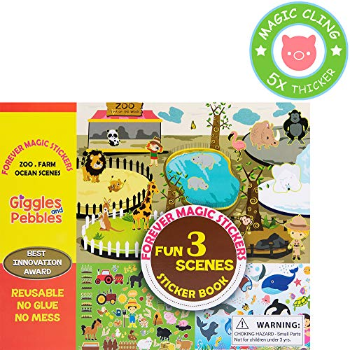 Giggles & Pebbles Educational Magic Sticker Pad Book for Kids,Toddlers, Boys and Girls - Reusable, Washable and Non-Adhesive Stickers with Farm, Zoo, Ocean Animals, for Storytelling, Games and Fun ()