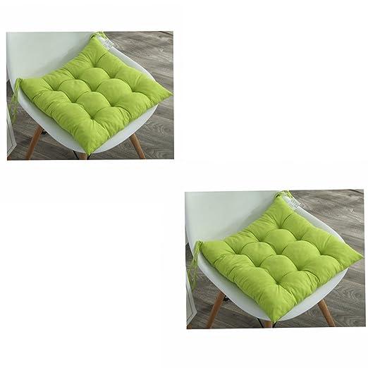Pack de 2 cojines acolchados para asiento de silla con lazos, diseño acolchado, cojines para sillas de comedor, jardín, cocina, oficina