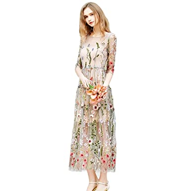 e68708fd0e3 Caracilia Women Spliced Half Sleeve Floral Embroidered Tulle Prom Maxi Dress  at Amazon Women s Clothing store