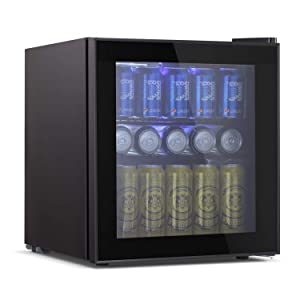 Tavata Wine Cooler- Freestanding Single Zone Fridge and Cellar Chiller, Quiet Wine Refrigerator with UV Protection Glass Door,Compressor Refrigeration for Counter Top  (17 Bottles)