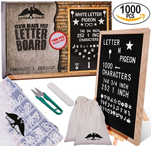 """Letter Board 12x18 Black Felt GİFT READY PACKİNG SUPER BUNDLE 1000 Characters Letters, Numbers, Symbols, Emojis ( 748 ¾"""" & 252 1"""") Organizer Box- Cutter / Letter Pouch / Stand - Store Oaks Thousand Frame"""