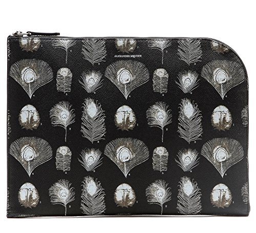 Wiberlux Alexander Mcqueen Unisex Peacock Feather Print Real Leather Clutch One Size Black (Mcqueen Alexander Clutch)