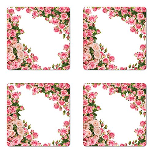 Lunarable Rose Coaster Set of 4, Rose Bushes Frame with Bridal Themed Elements Park Summer Occasions Illustration, Square Hardboard Gloss Coasters for Drinks, Pink Green White