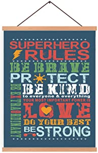 Natural Wood Magnetic Hanger Frame Poster-Colorful Inspirational Superhero Rules Canvas Wall Art Print Be Brave Be Kind Painting 28X45cm Frames Hanging Kit