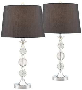 Gustavo Crystal Table Lamp With Black Shade Set Of 2 Amazon Com