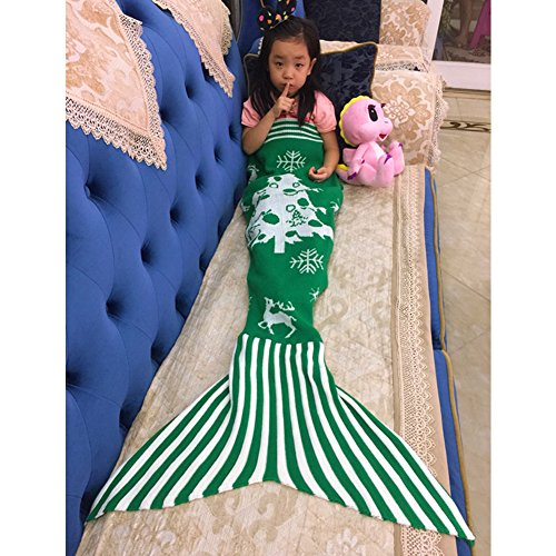 NOPTEG Mermaid Tail Blanket Handmade Crocheted Living Room Sofa Outdoor Camping Blanket Sleeping Bag for Kids 59inch x31.5 inch(Green)