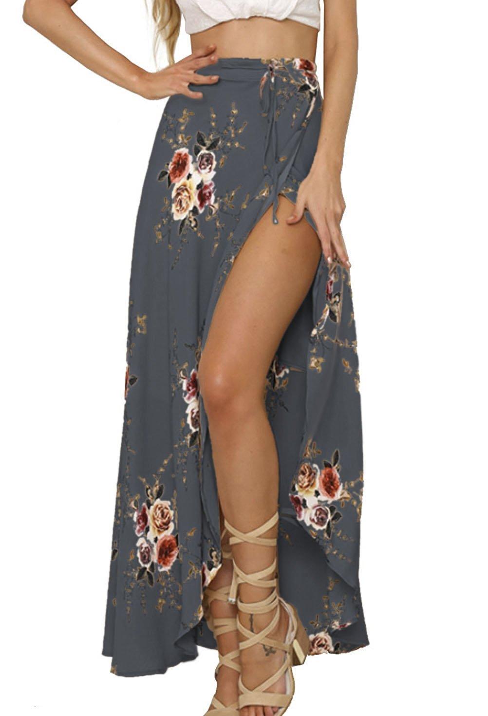 Yonala Womens Boho Floral Tie Up Waist Summer Beach Wrap Cover Up Maxi Skirt (S, Gray)