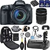 Canon EOS 7D Mark II DSLR Camera. Kit Includes, 2Pcs 32GB Commander MemoryCard + Battery Grip + Extra Battery + Backpack Case + Grip Strap + Air Blower + Cleaning Kit (4) 18-135mm Kit)