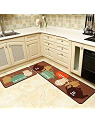 seamersey home and kitchen rugs 2 pieces 4 size decorative non slip rubber backing doormat - Rubber Mats For Kitchen