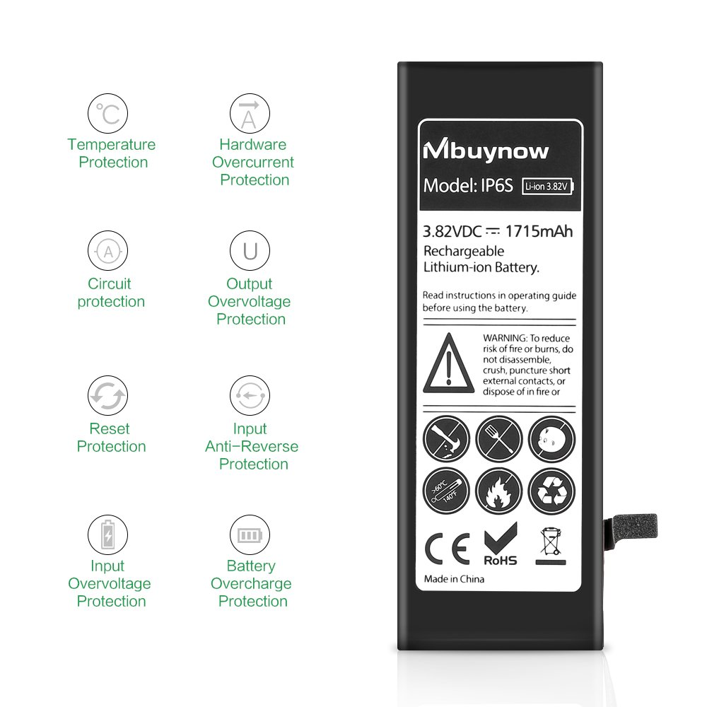 Mbuynow iPhone 6S Battery Replacement, Complete Repair Kit with Tools and Instructions High Capacity (1715mAh) New 0 Cycle