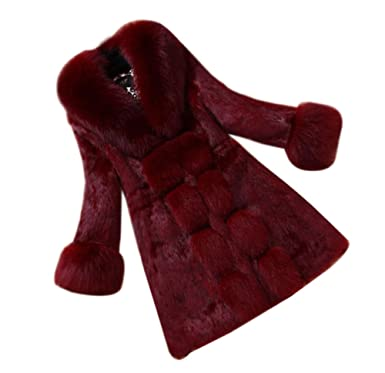 LaoZan Chaqueta de Invierno Parka Abrigo Largo de Piel sintética de Pelo de Las Mujeres XL Vino Rojo: Amazon.es: Ropa y accesorios