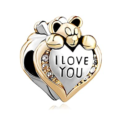 457219f71 Image Unavailable. Image not available for. Color: CharmSStory Heart I Love  You Teddy Bear Charm Beads for Bracelets