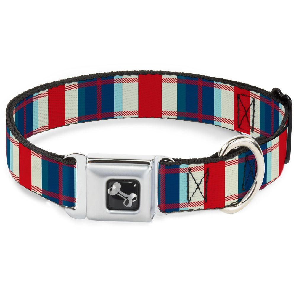 Tartan Plaid Khaki bluees Red 1.5\ Tartan Plaid Khaki bluees Red 1.5\ Buckle-Down 18-32  Tartan Plaid Khaki bluees Red Dog Collar Bone, Wide Large