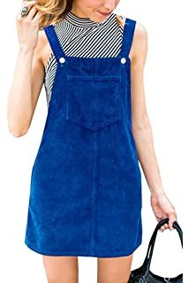 7eaf56cb4c9a Salimdy Women's Corduroy Suspender Pinafore Bib Overalls Skirt Dress Pocket