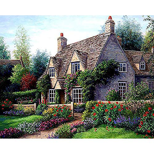 DIY Oil Painting by Numbers, Paint by Number Kits - Cottage View Oil Painting Canvas Wallwork Landscape Paintings for Home Living Room New Year Valentine Decor-Wooden - Paint Number By Cottage