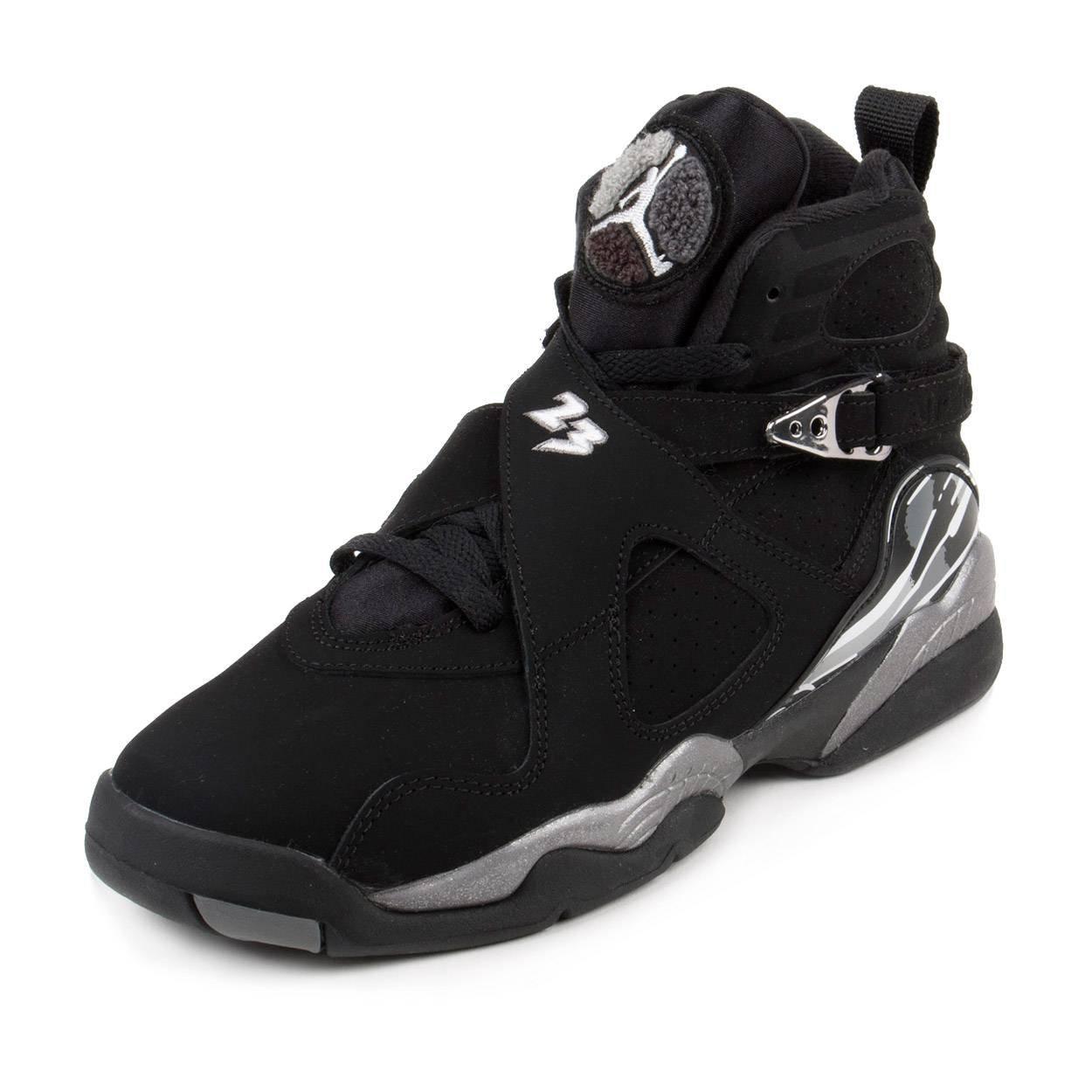 info for ec043 558c6 Nike Air Jordan 8 Retro BG 'Chrome' 305368-003 Black/White/Graphite Kids'  Shoes (5.5)