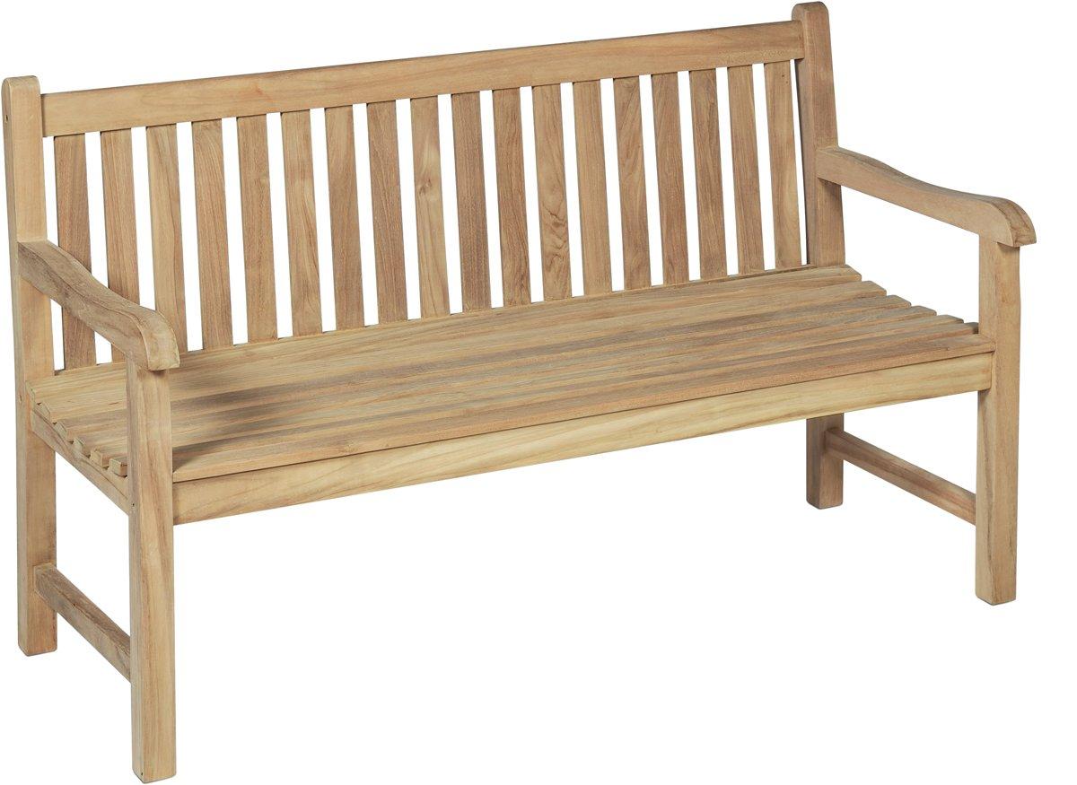 Hochwertige 3 Sitzer Gartenbank aus massivem unbehandeltem Teak Holz - sehr widerstandsfähige und langlebige Gartenbank Holz 3er - 150x63x92 cm