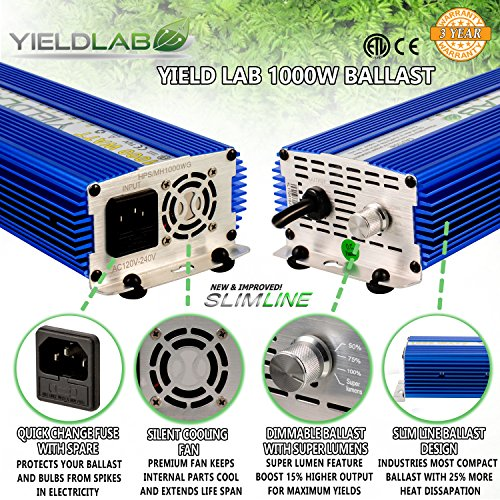 Yield Lab Horticulture 1000w Slim Line Dimmable Digital Ballast for HPS MH Grow Light by Yield Lab (Image #1)