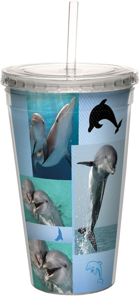 Tree-Free Greetings CC99040 Moose Collage Double-Walled Acrylic Cool Cup with Reusable Straw 16 Ounce