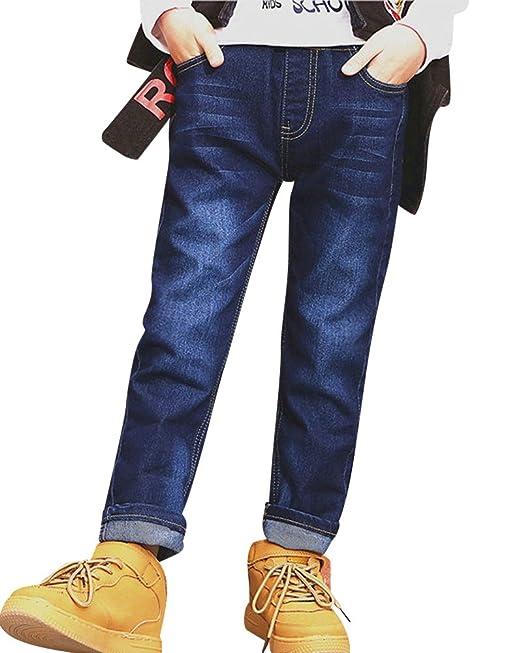Yonglan Niño Pantalones Vaqueros con Cintura elástica ...