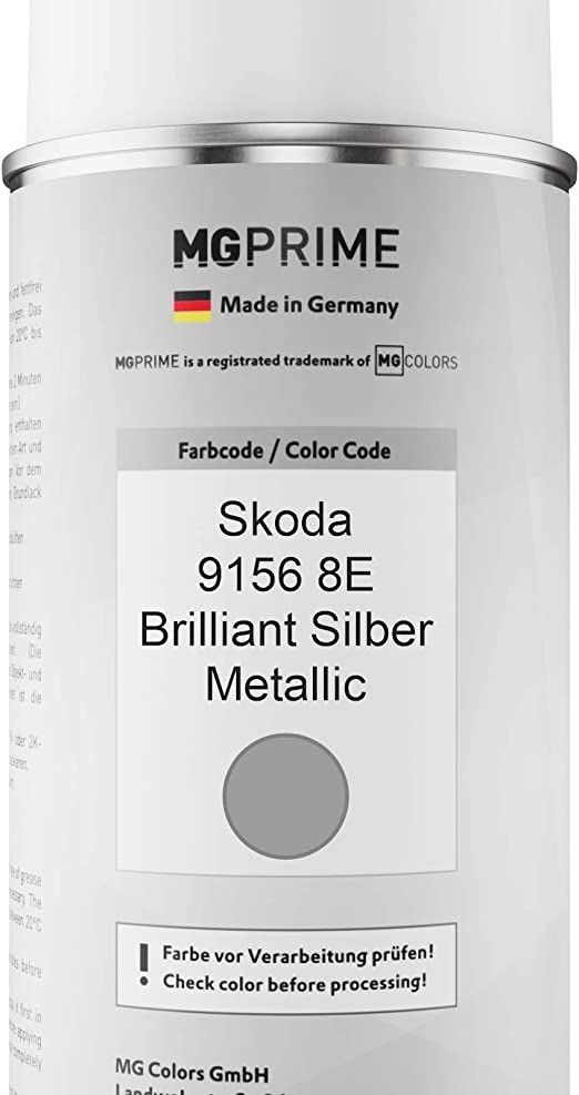 Mg Prime Autolack Sprühdosen Set Für Skoda 9156 8e Brilliant Silber Metallic Basislack Klarlack Spraydose 400ml Auto