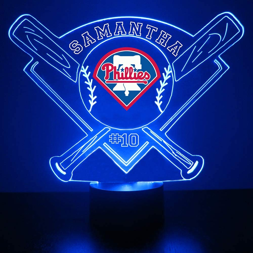 Mirror Magic Store Baseball LED Night Light - Personalize Free LED Night Lamp Gift - Features Licensed Decal and Remote (Phillies)